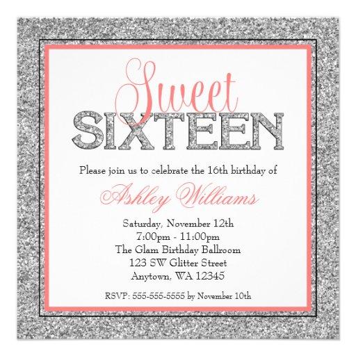Glam Faux Glitter Silver Coral Sweet 16 Invite