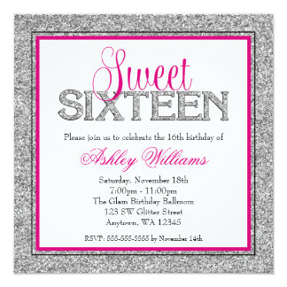 Glam Faux Glitter Silver Hot Pink Sweet 16 Card