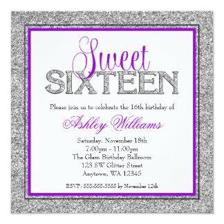 Glam Faux Glitter Silver Purple Sweet 16 Card