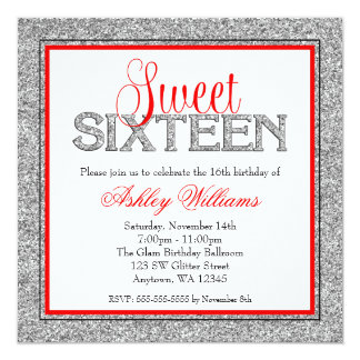 Glam Faux Glitter Silver Red Sweet 16 Card