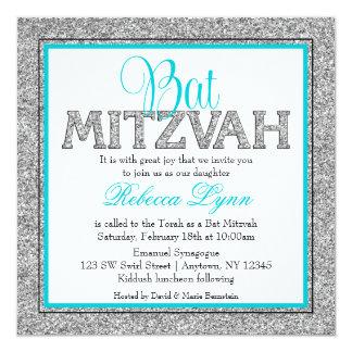 Glam Faux Glitter Silver Teal Blue Bat Mitzvah Card