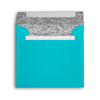 Glam Faux Glitter Silver Teal Blue Envelope