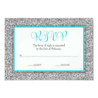 Glam Faux Glitter Silver Teal Blue RSVP Card