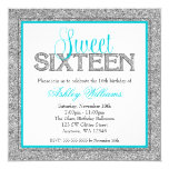 Glam Faux Glitter Silver Teal Blue Sweet 16 Invitation