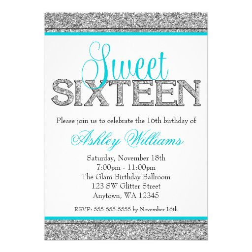 Glam Faux Glitter Silver Teal Blue Sweet 16 Custom Invitation