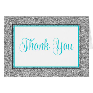 Glam Faux Glitter Silver Teal Blue Thank You Card
