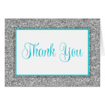 Glam Faux Glitter Silver Teal Blue Thank You Stationery Note Card