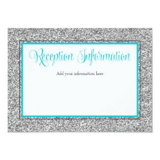Glam Faux Glitter Silver Teal Reception Card