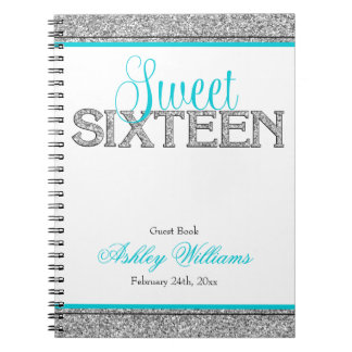 Glam Faux Glitter Silver Teal Sweet 16 Guest Book Spiral Notebook