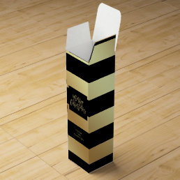 Glam Faux Gold and Black Stripes   Merry Christmas Wine Gift Box