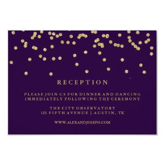 Glam Faux Gold Confetti and Deep Purple Reception Card
