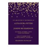 Glam Faux Gold Confetti and Deep Purple Wedding Card