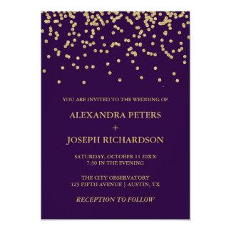 Glam Faux Gold Confetti and Deep Purple Wedding Invitation