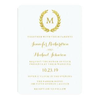 Glam Faux Gold Foil Laurel Wreath Monogram Wedding Card