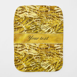 Glam Faux Gold Foil Zebra Pattern Burp Cloth