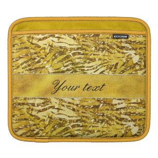 Glam Faux Gold Foil Zebra Pattern iPad Sleeve