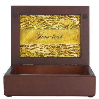 Glam Faux Gold Foil Zebra Pattern Keepsake Box
