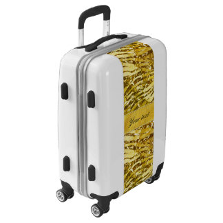 Glam Faux Gold Foil Zebra Pattern Luggage