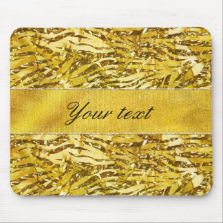 Glam Faux Gold Foil Zebra Pattern Mouse Pad