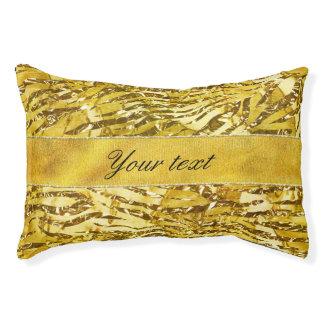 Glam Faux Gold Foil Zebra Pattern Pet Bed