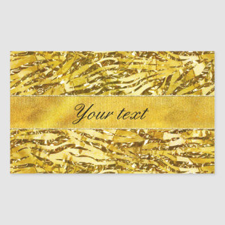 Glam Faux Gold Foil Zebra Pattern Rectangular Sticker