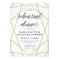Glam Faux Gold Geometric Wedding Rehearsal Dinner Card