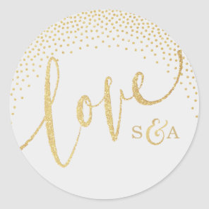 Glam faux gold glitter calligraphy love monogram classic round sticker