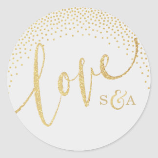 Glam faux gold glitter calligraphy love monogram classic round sticker
