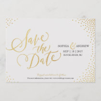 Glam faux gold glitter calligraphy save the date