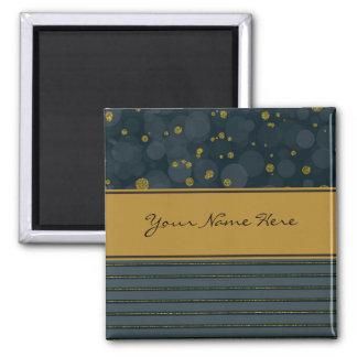Glam Faux Gold Glitter Confetti and Stripes 2 Inch Square Magnet