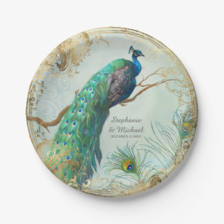 Glam Faux Gold Leaf Peacock on Tree Branch Elegant Paper Plate