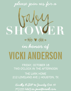 Modern baby shower invitations announcements zazzle glam faux gold modern baby shower invitations filmwisefo