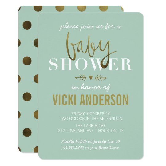glam faux gold modern baby shower invitations | zazzle, Baby shower invitations