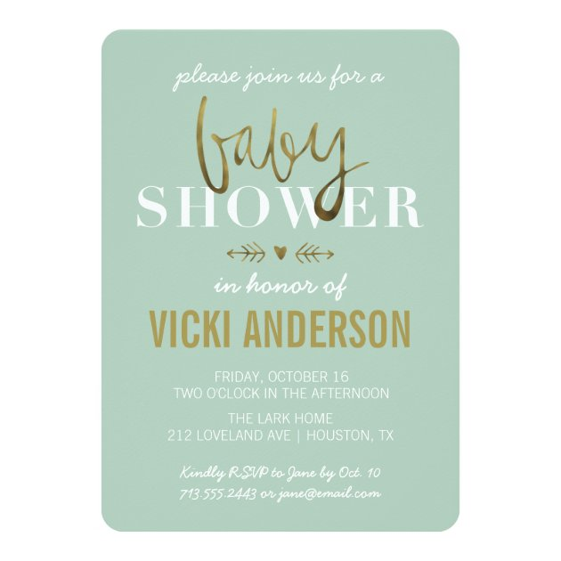 glam faux gold modern baby shower invitations | zazzle,