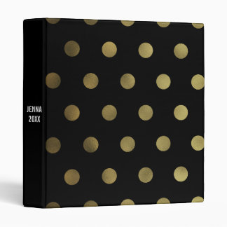 Glam Faux Gold Polka Dot Custom 3 Ring Binder