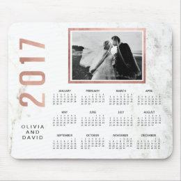 Glam Faux Rose Gold and Marble 2017 Photo Calendar Mouse Pad