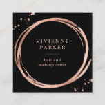 """Glam Faux Rose Gold Look on Black Square Business Card<br><div class=""""desc"""">This glam,  modern business card features a black background,  with faux rose gold look accents. Perfect for any stylish business such as makeup,  beauty,  hair,  and fashion.</div>"""
