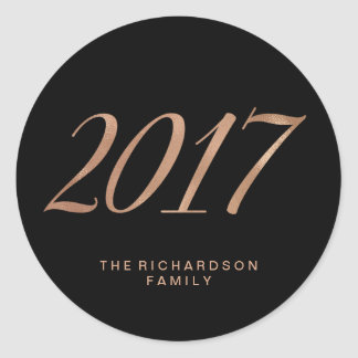 Glam Faux Rose Gold on Black 2017 Classic Round Sticker