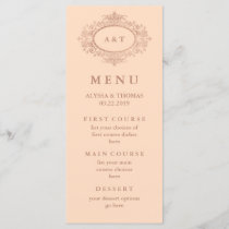 Glam Faux Rose Gold on Blush Pink Wedding Menu