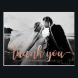"Glam Faux Rose Gold Wedding Photo Thank You Postcard<br><div class=""desc"">These elegant thank you postcards feature your favorite wedding photo,  with an overlay of the words &quot;thank you&quot; in a faux rose gold look. Personalize both the front and the back with your information.</div>"