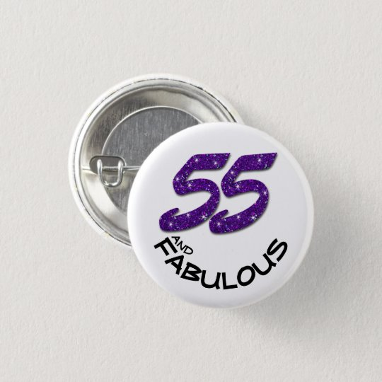 Glam Fifty-Five Purple Glitter Happy Birthday Button   Zazzle.com 27758006a8