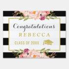 Glam Floral Stripes Congrats Grad Graduation Party Yard Sign