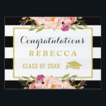"Glam Floral Stripes Congrats Grad Graduation Party Yard Sign<br><div class=""desc"">================= ABOUT THIS DESIGN ================= Glam Floral Stripes Congrats Grad Graduation Party Yard Sign. (1) You are able to Change the Black Stripes to ANY COLOR you like by clicking the &quot;Customize&quot; button and setting the Background Color. The text color and size are adjustable too. (2) If you need help...</div>"