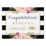 Glam Floral Stripes Congrats Grad Graduation Party Yard Sign<br><div class='desc'>================= ABOUT THIS DESIGN ================= Glam Floral Stripes Congrats Grad Graduation Party Yard Sign. (1) You are able to Change the Black Stripes to ANY COLOR you like by clicking the &quot;Customize&quot; button and setting the Background Color. The text color and size are adjustable too. (2) If you need help...</div>