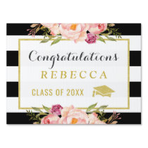 Glam Floral Stripes Congrats Grad Graduation Party Yard Sign