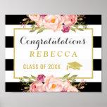 Glam Floral Stripes Congrats Grad Graduation Sign