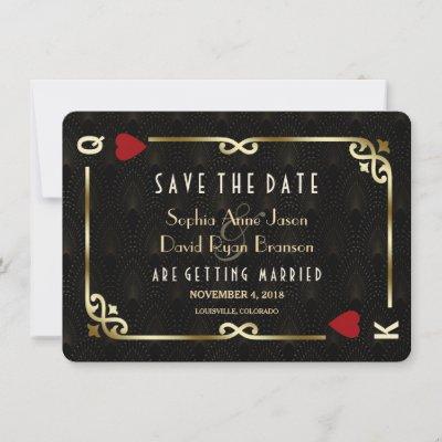 Glam Gatsby Casino Las Vegas Poker Wedding Save The Date