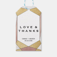 Glam Geometric Diamond Love & Thanks Gift Tags