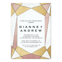 Glam Geometric Diamond Wedding Brunch Invitation