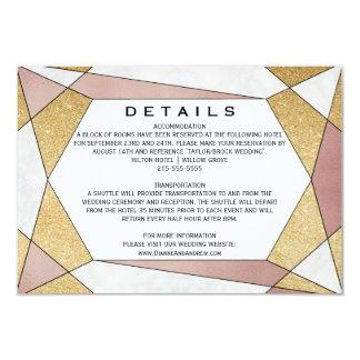 Glam Geometric Diamond Wedding Details Card